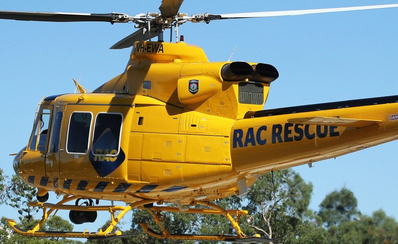 Rescue helicopter is on its way to a car crash near dudinin
