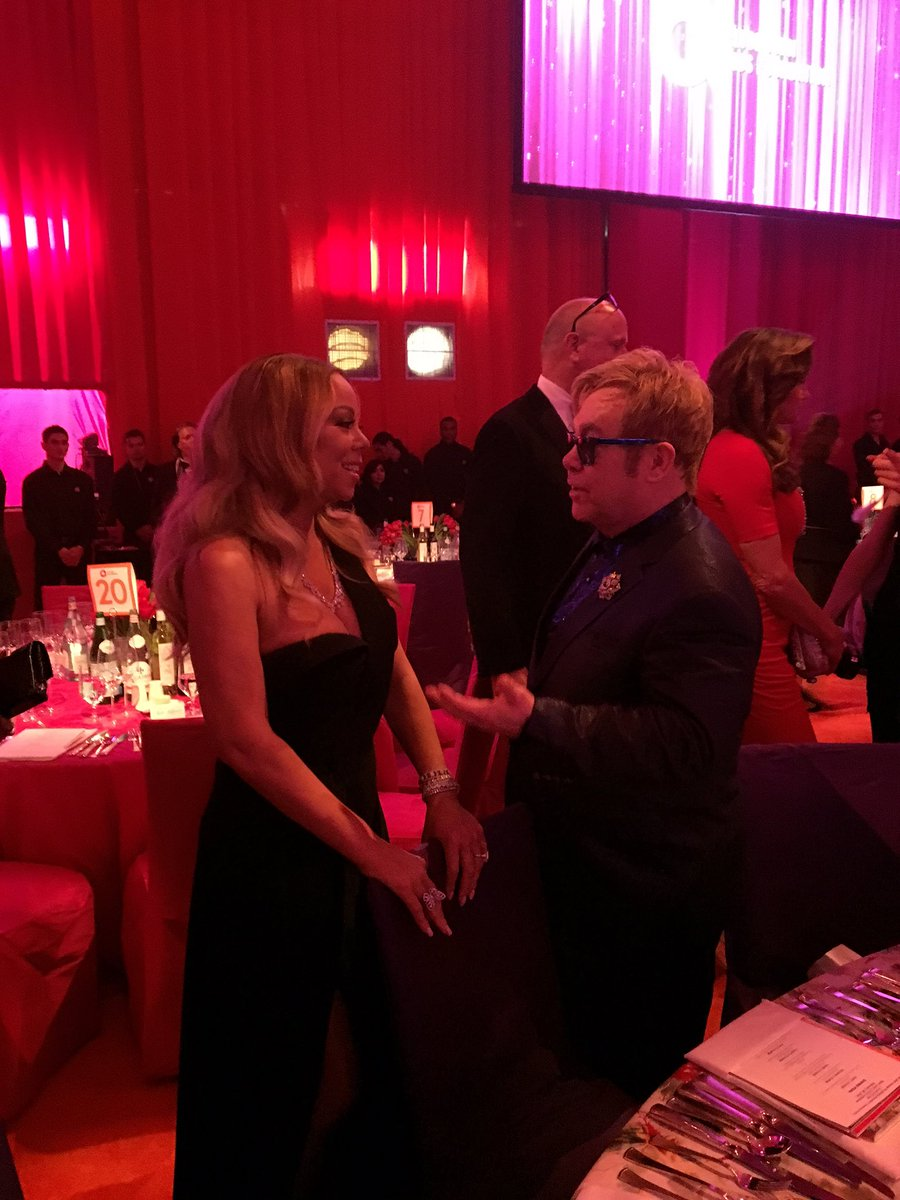 Mariah Carey rocked a little black dress at Elton John's Oscars Viewing Party in Hollywood CcWHorWUUAATw7U