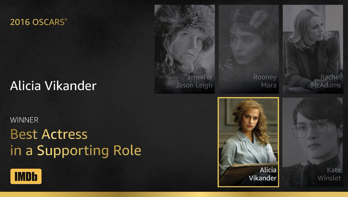 Best Actress in a Supporting Role goes to... Alicia Vikander! https://t.co/71Fvl6u39e #IMDbOscars #Oscars