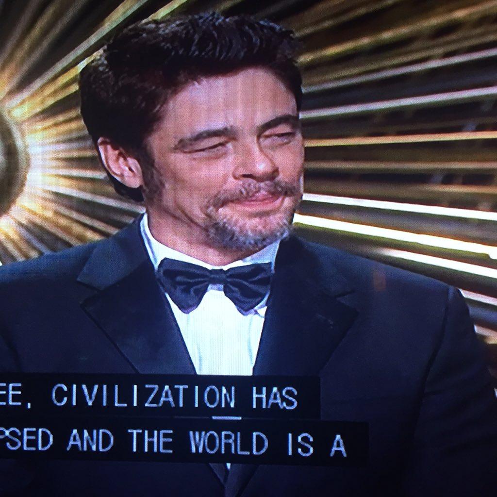 I think Benicio Del Toro secretly is Brad Pitt trying to expand into the Latin market.  #Oscars2016 https://t.co/DoA9CtNJ9B