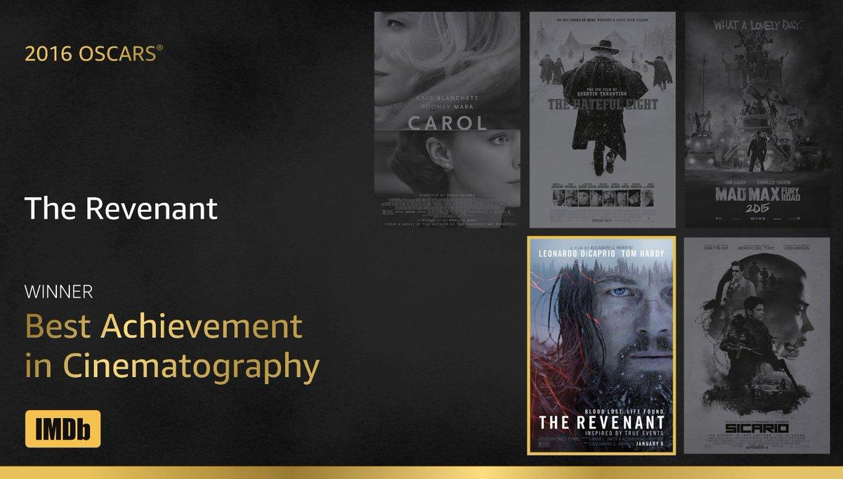 Best Cinematography goes to...Emmanuel Lubezki, #TheRevenant! https://t.co/71Fvl6u39e #IMDbOscars #Oscars