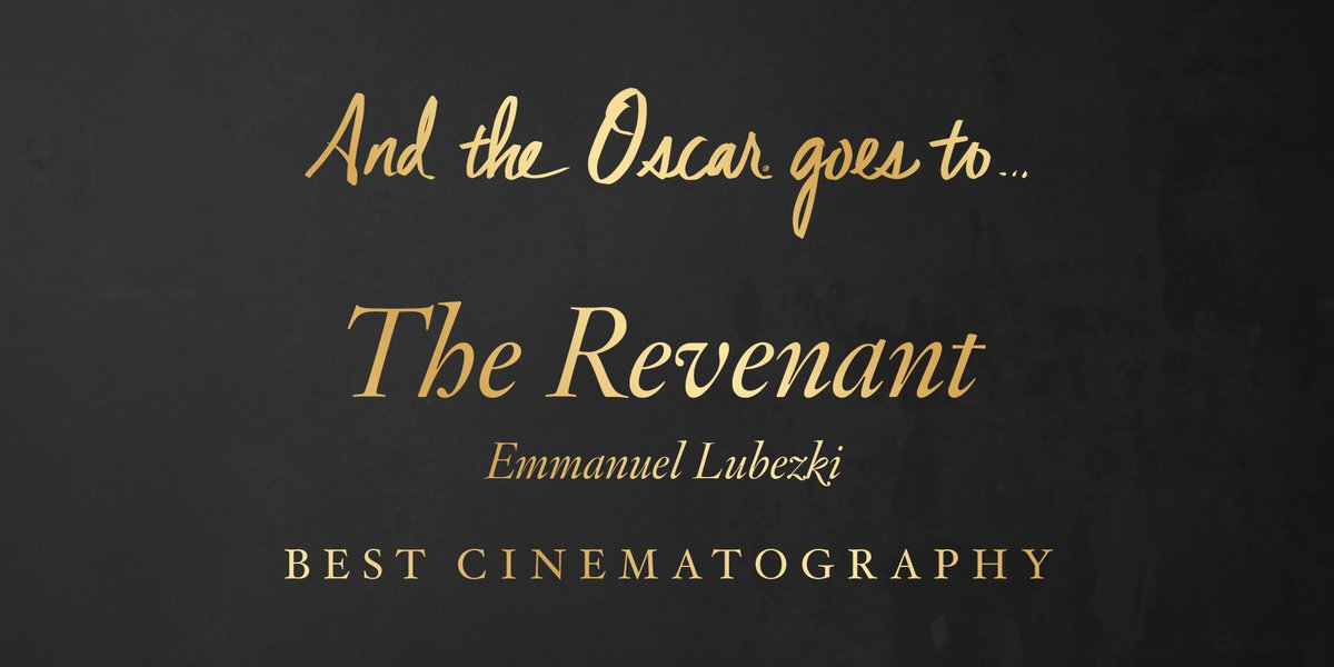 The #Oscar for Cinematography goes to…