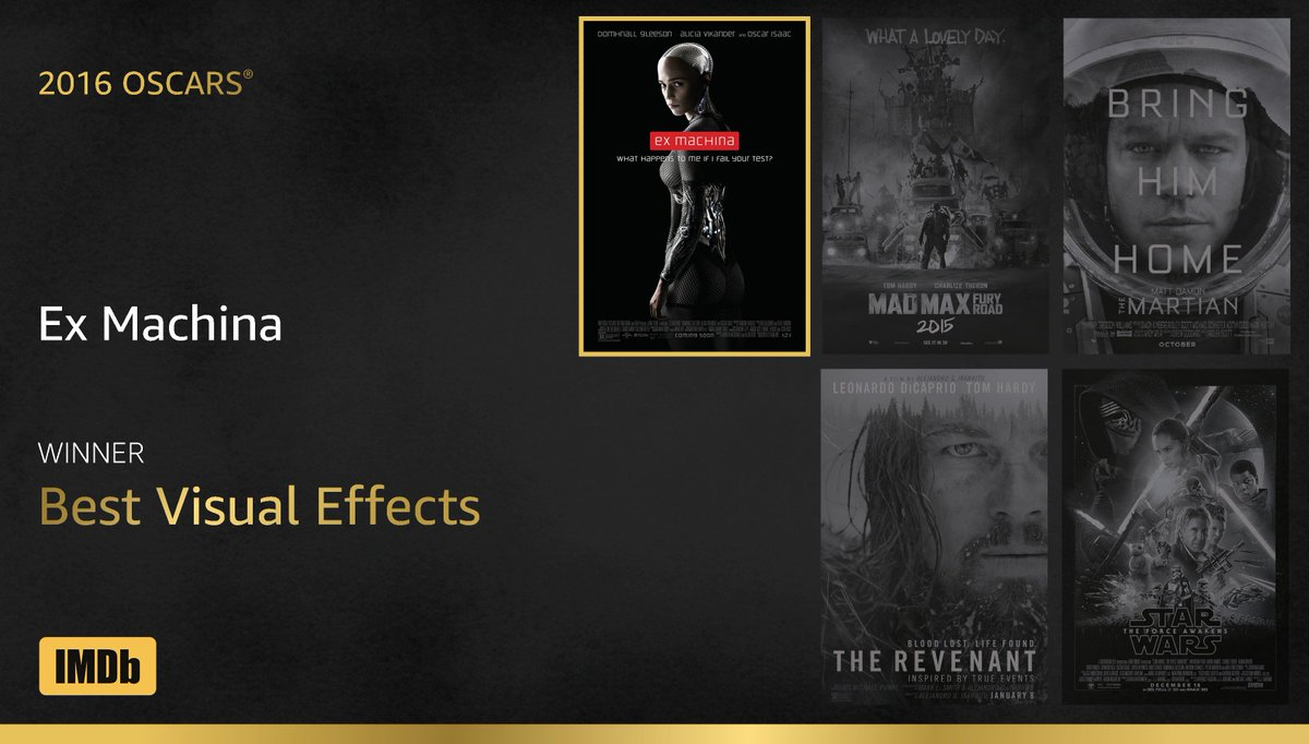 Best Visual Effects goes to...#ExMachina! #IMDbOscars #Oscars