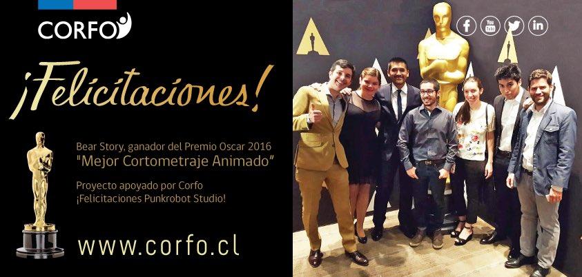 ¡Histórico! #BearStory de @PunkrobotStudio se queda con el Oscar al mejor corto animado #Oscars #1erOscarparaChile https://t.co/2AOAuapOxs