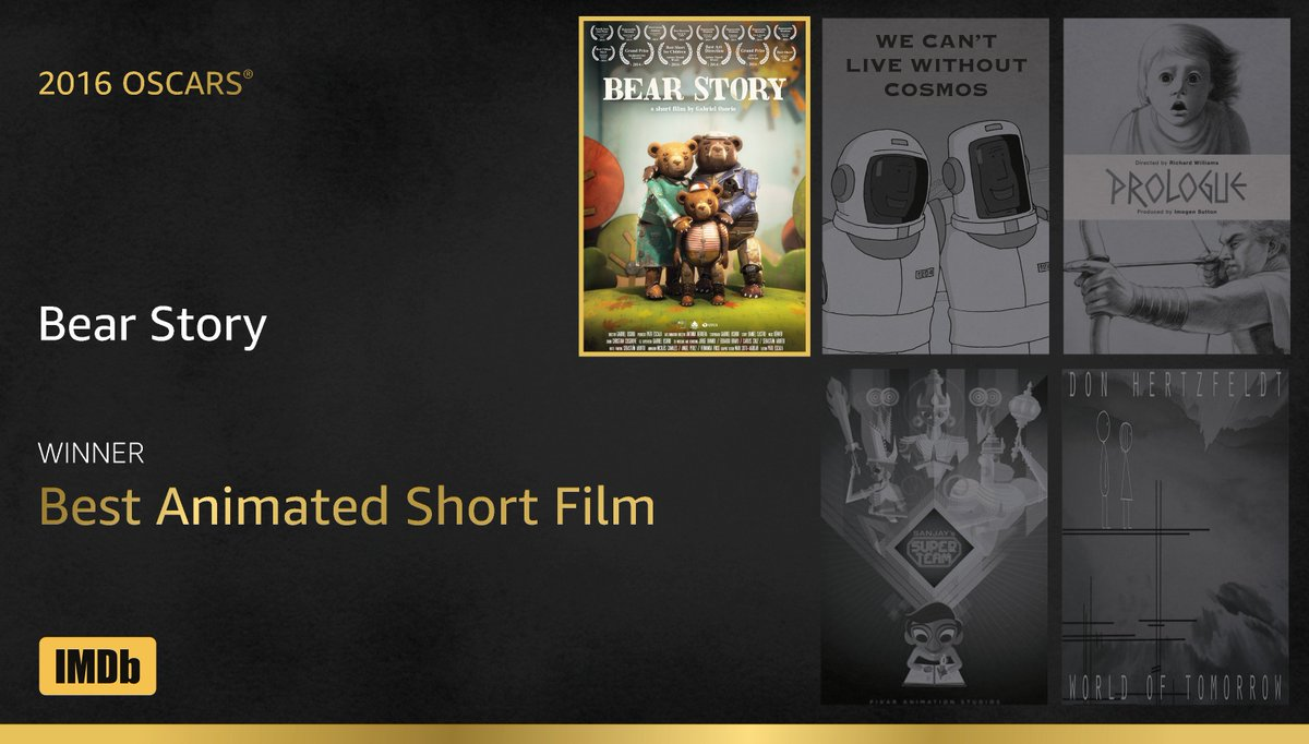 Best Animated Short Film goes to...#BearStory! https://t.co/71Fvl6u39e #IMDbOscars #Oscars