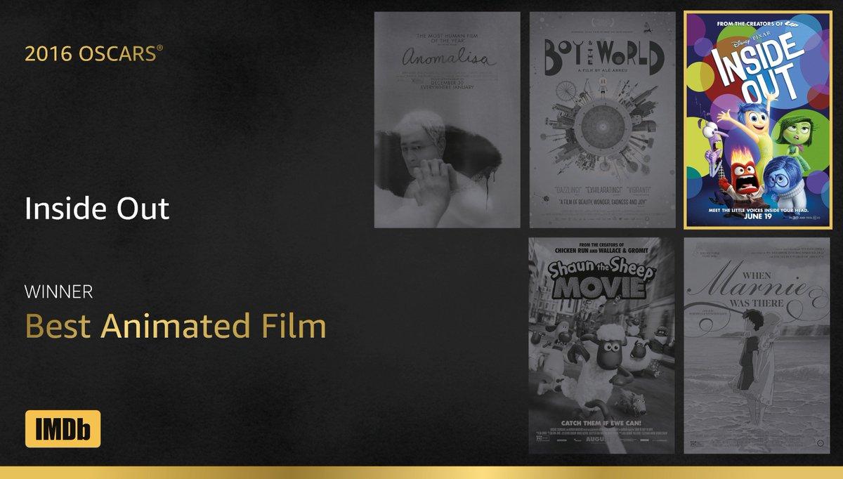 Best Animated Film goes to...#InsideOut! https://t.co/71Fvl6u39e #IMDbOscars #Oscars