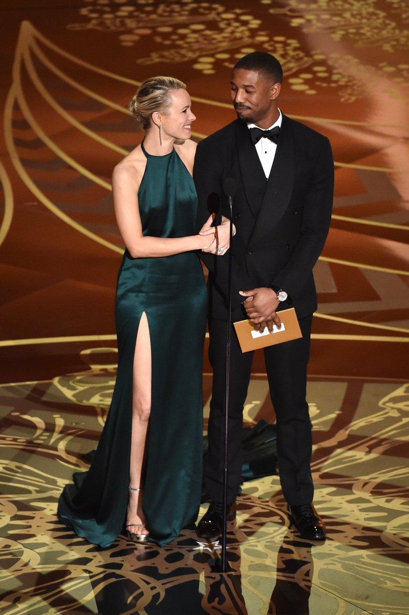 .@michaelb4jordan, in an RL Purple Label tux, & #RachelMcAdams presenting the award for Best Cinematography. #Oscars