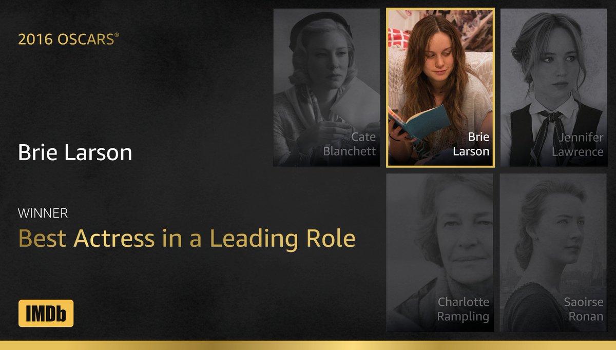 #Oscar winner for Best Actress in a Leading Role goes to... Brie Larson, #Room https://t.co/71Fvl6u39e #IMDbOscars