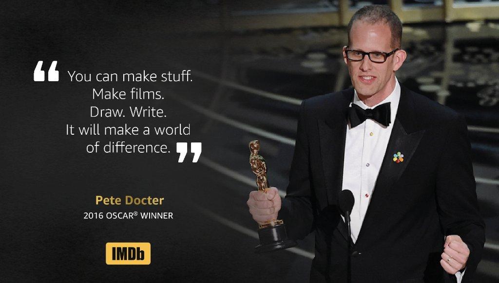 Great speech from #Oscar winner, Pete Docter! #InsideOut https://t.co/tHcmYjOeTY #IMDbOscars