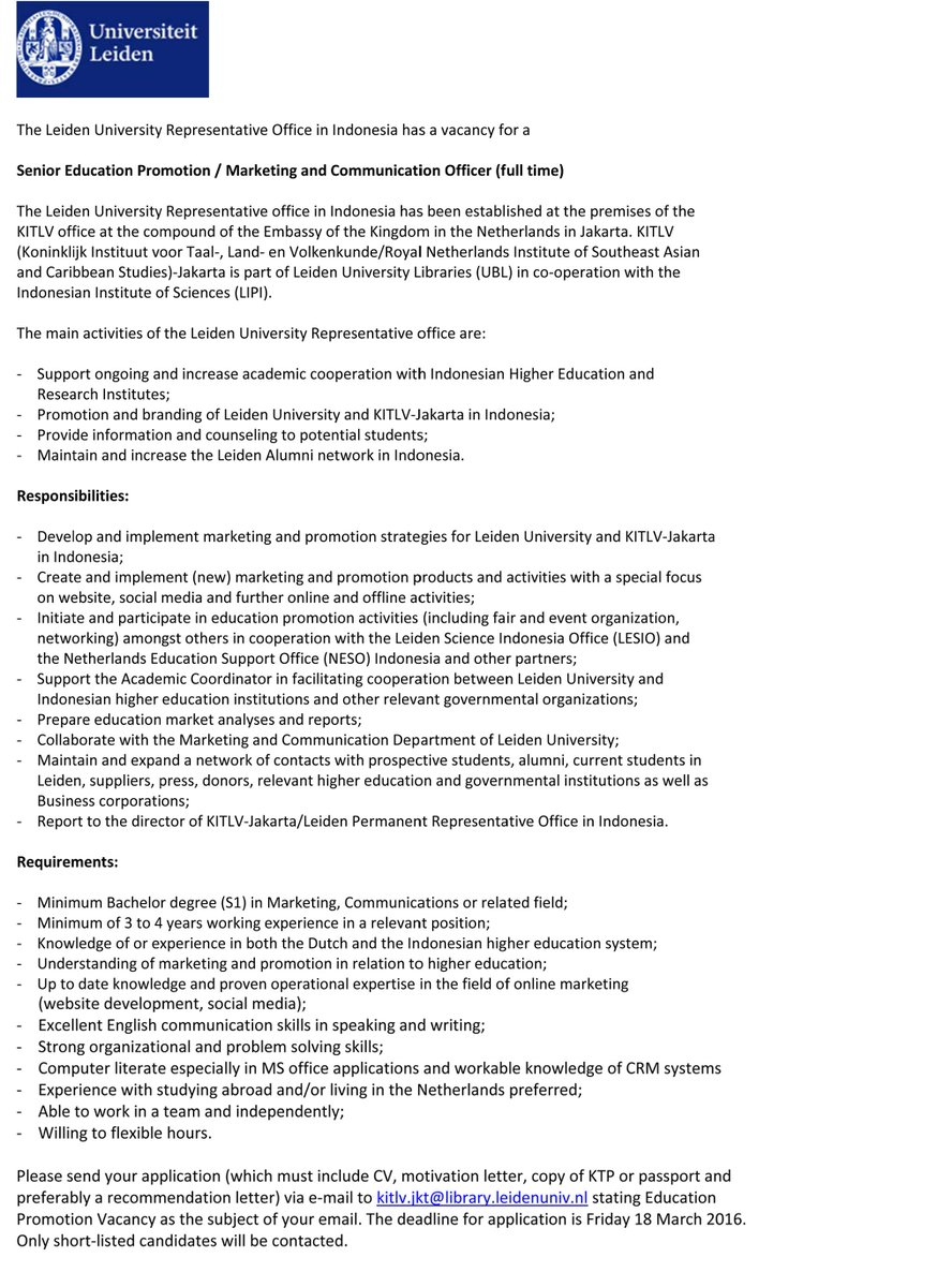Kitlv jakarta on twitter the leiden university representative kitlv jakarta on twitter the leiden university representative office in indonesia has a vacancy more info httpstvmiuqvbnjg spiritdancerdesigns Images
