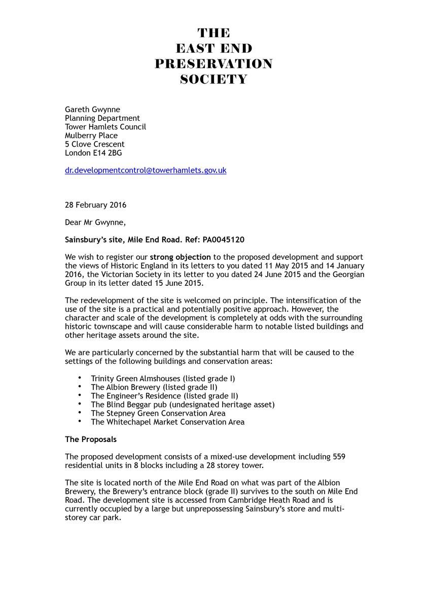 E e preservation soc on twitter our recent objection letter e e preservation soc on twitter our recent objection letter regarding sainsburys site at whitechapel httpstxszr17u4fi falaconquin