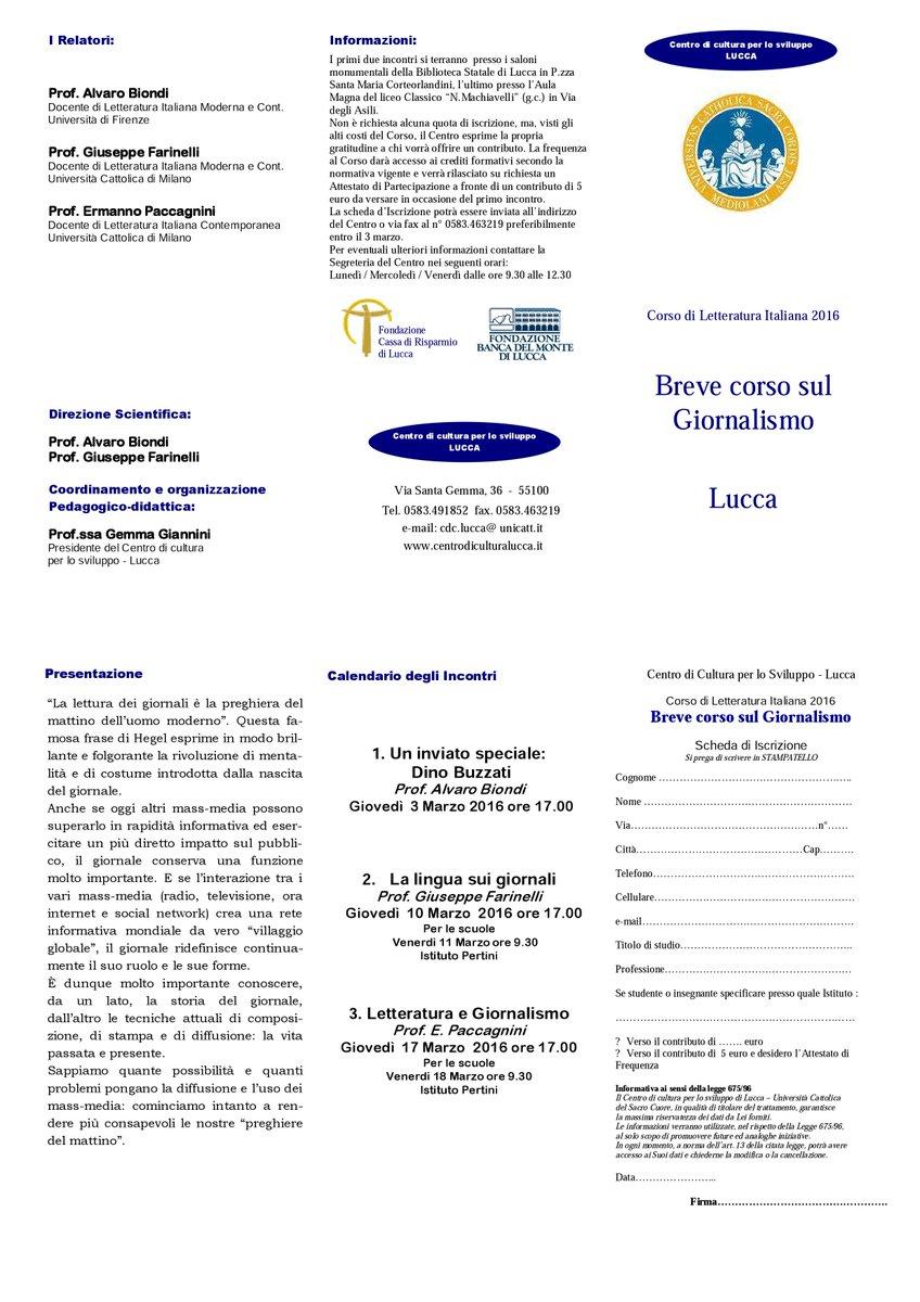 Calendario Unicatt.Centro Cultura Lucca Cdclucca Twitter