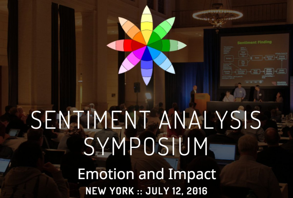 Want to speak at the 2016 Sentiment Analysis Symposium? July 12 in NYC. https://t.co/76nB1Knb6F #CX #MRX #NLProc https://t.co/5ZAwtT8sNk