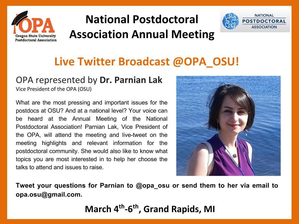 Parnian Lak (OPA OSU) will live-tweet from the NPA Annual Meeting! @nationalpostdoc #NPA2016 https://t.co/mlCIuR3QxL https://t.co/SdhkFTp665