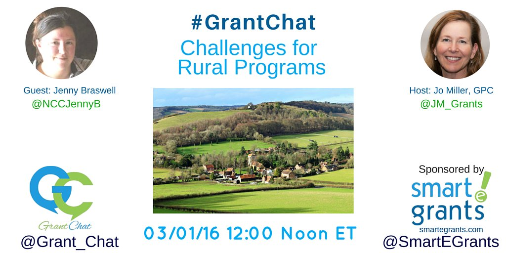 This week's #GrantChat is: Challenges of Rural Communities w/ guest @NCCJennyB https://t.co/p3Ua5jPItb https://t.co/HUM0akjpMs