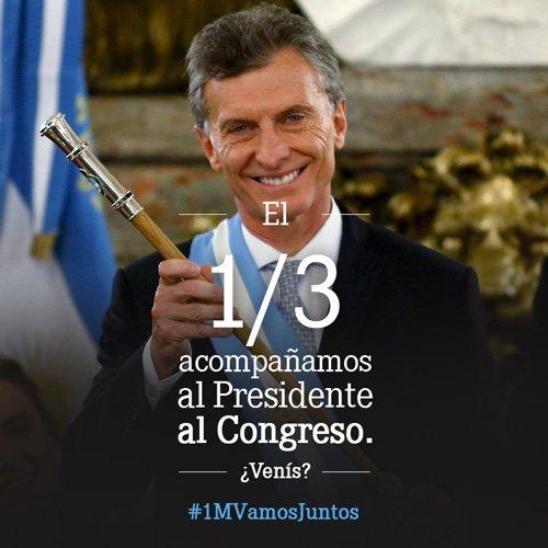 El 1º de marzo 11hs en la Plaza del Congreso te esperamos para acompañar y apoyar a @mauriciomacri  #1MVamosJuntos https://t.co/60D91OvkGs