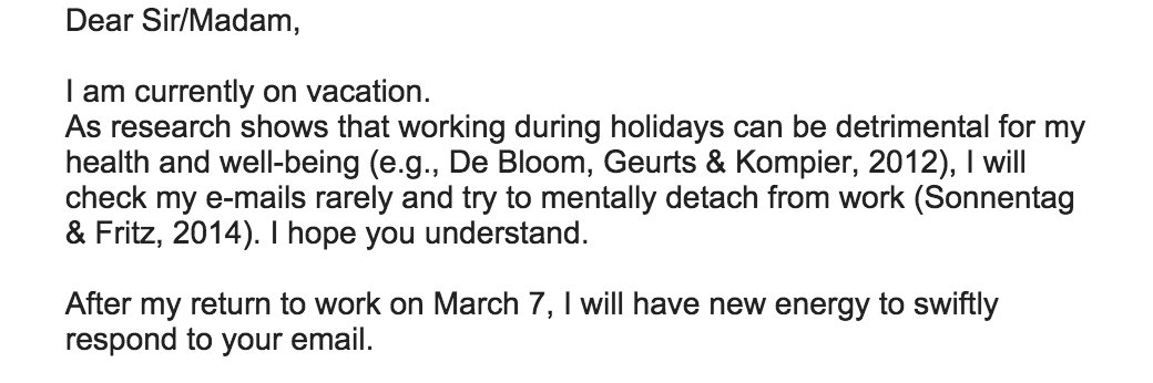 Ha, this is great. Emailed researcher who specializes in psychological benefits of vacations. Got this response: https://t.co/T5EXbbXynP