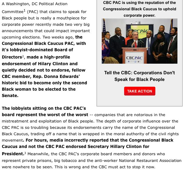 Great email from Color of Change taking on the big-money charlatans at the Congressional Black Caucus PAC https://t.co/oH4ParN1Ss