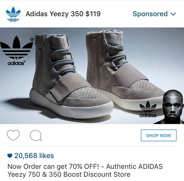Yeezy Lookout On Twitter Don T Buy Yeezys From Instagram Ads The Low Prices May Look Tempting But They Re All Fakes Https T Co Oiozju087q