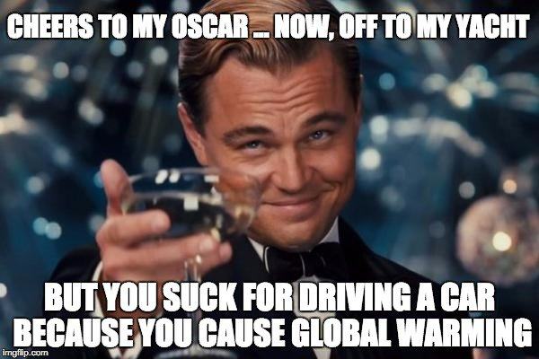 Congrats @LeoDiCaprio on ur #Oscars win. But explain how this isn't Ur #globalwarmig & #climate message? https://t.co/mzebcVPGL0
