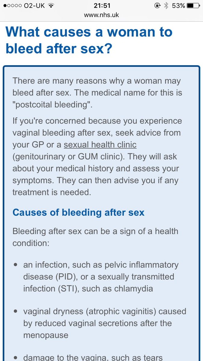 Early pregnancy bleeding after sex