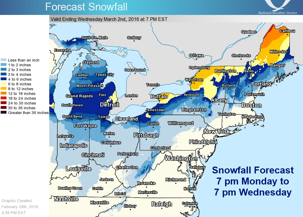 Nws Eastern Region On Twitter Heavy Snows Along The Us Canada Border Tue Wed As A Storm Tracks From The Upper Ohio Valley To Northern New England