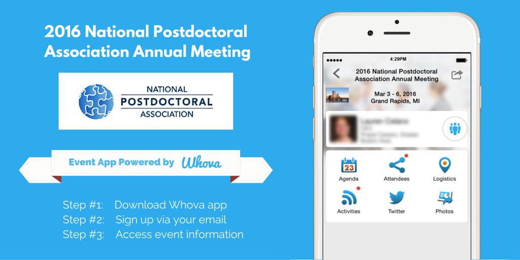 Proud to work with @nationalpostdoc & present #WhovaApp to #NPA2016 attendees as a way to connect, learn, & share! https://t.co/mCHEaxv06P