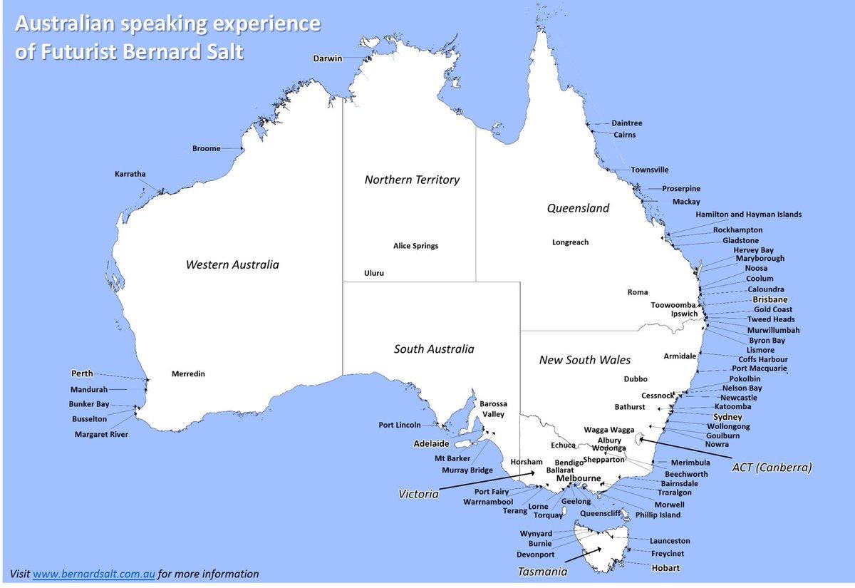 Australia Map Kalgoorlie.Bernard Salt Am On Twitter My Australian Speaking Map Includes
