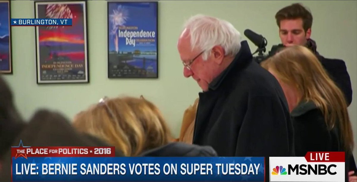 Happening now: @BernieSanders voting on #SuperTuesday https://t.co/6lf6SVEN3U