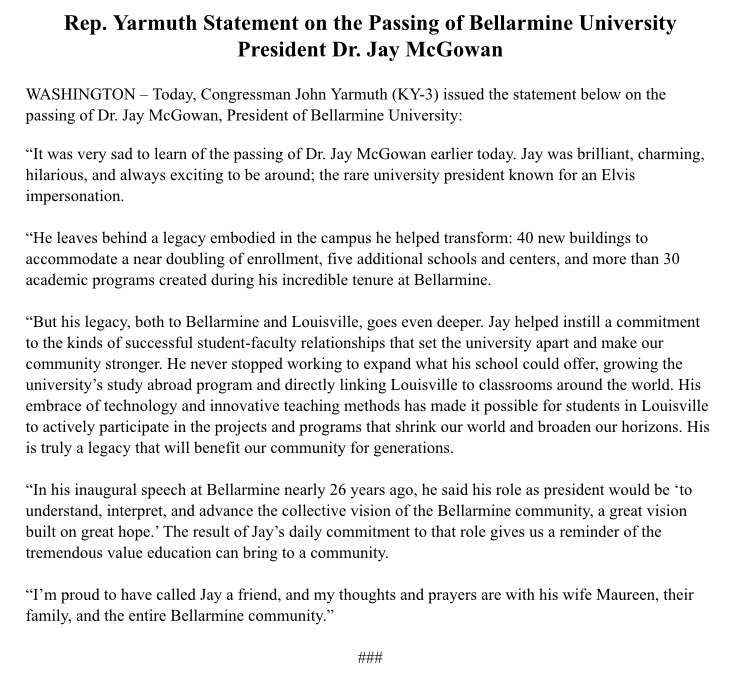 Saddened to hear of the passing of Dr. Jay McGowan, President of @bellarmineU. My thoughts: https://t.co/OYVX5FECHC