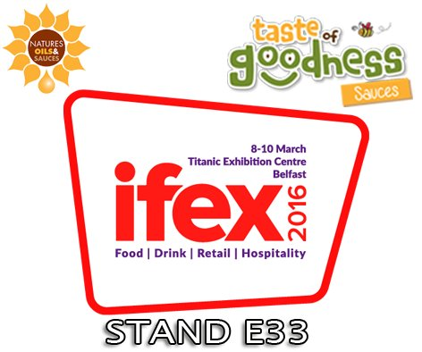 Everyone at Natures Oils & Sauces, Splash Sauces and  @Taste_Goodness Sauces looking forward to #IFEX16 #IFEXtalk https://t.co/YvZyX5Xp4K