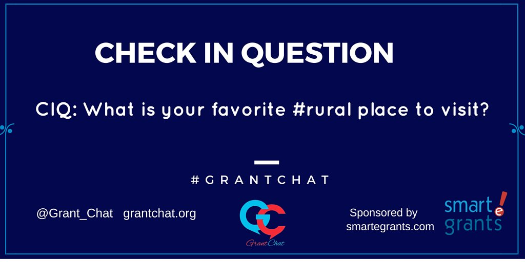 CIQ: What is your favorite #rural place to visit? #grantchat https://t.co/hnEFFi1azY