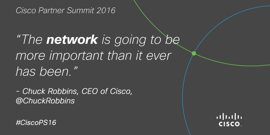 The future of technology lies within the network. RT if you agree. @ChuckRobbins #CiscoPS16 https://t.co/X87ZWJC8br
