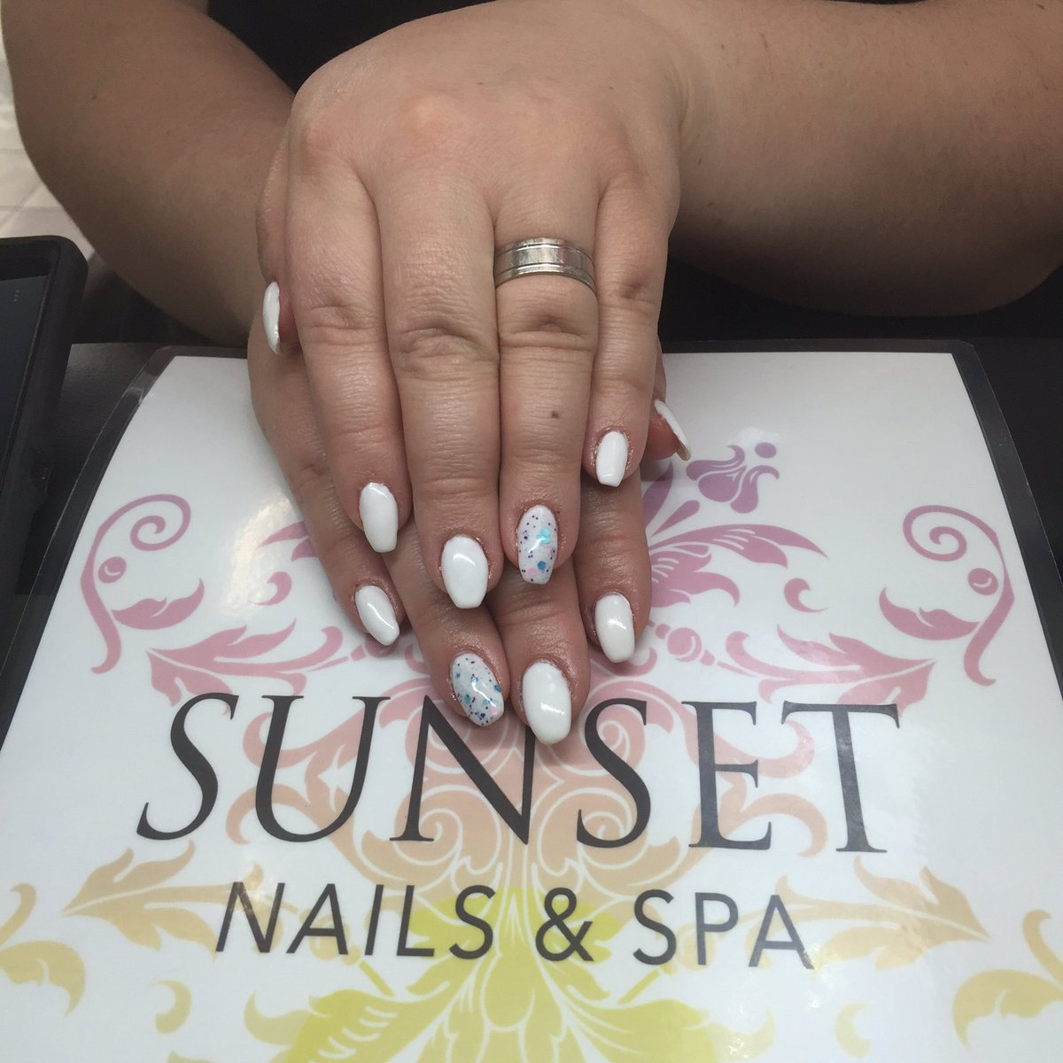 Sunset Nails Closed On Twitter Short White Coffin Nails With A