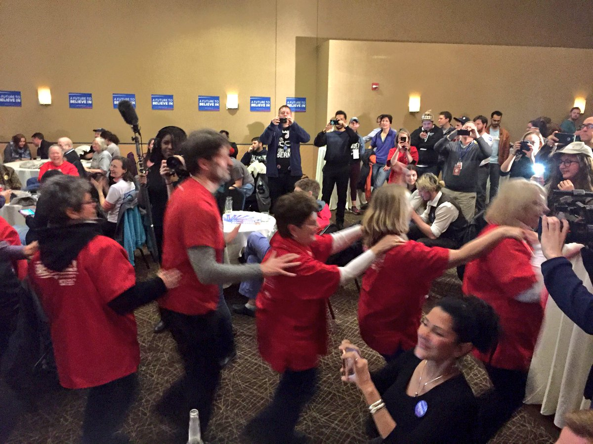 Hillary who? There's a conga line at the @BernieSanders campaign party in Somerville. #mapoli https://t.co/tjvsggIUIy