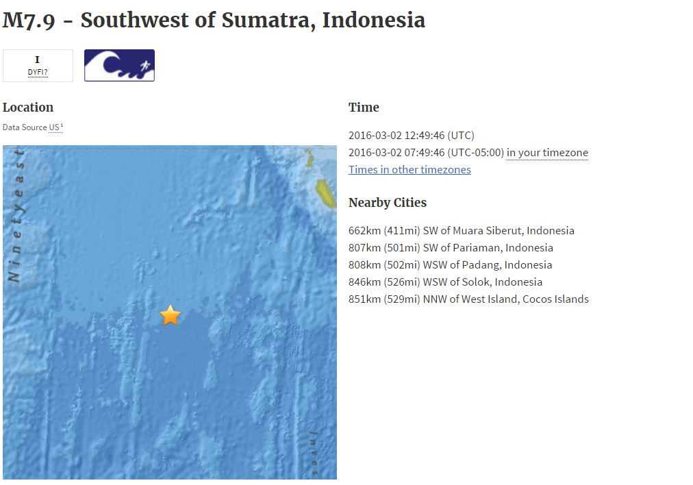 M7.9 #earthquake Southwest of Sumatra, Indonesia https://t.co/Fi1dq8J5Fd https://t.co/yV0kQt8lLh