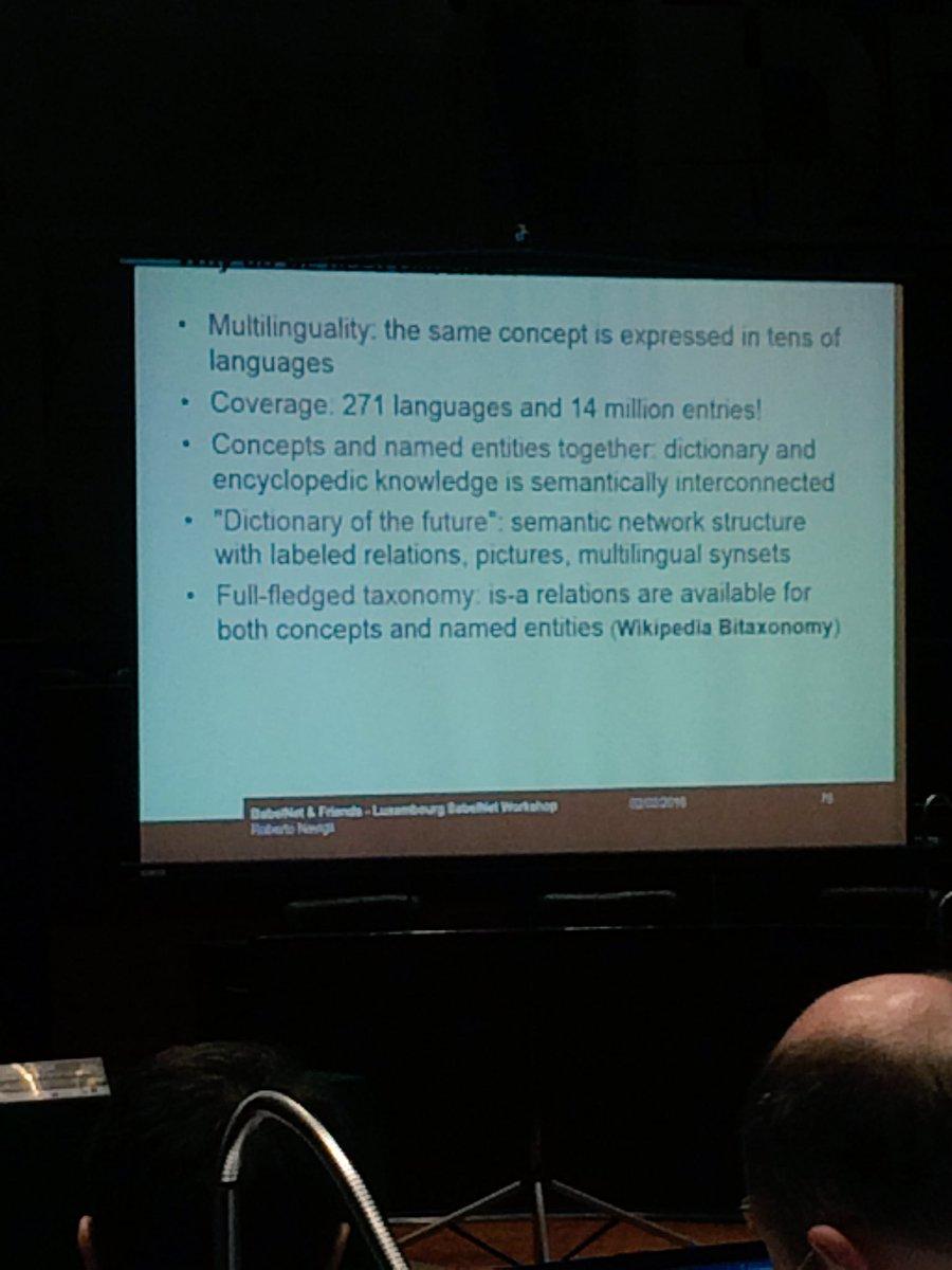 "Babelnet as the ""dictionary of the future"" #BabelNetlux @RNavigli https://t.co/LRuGFKr825"