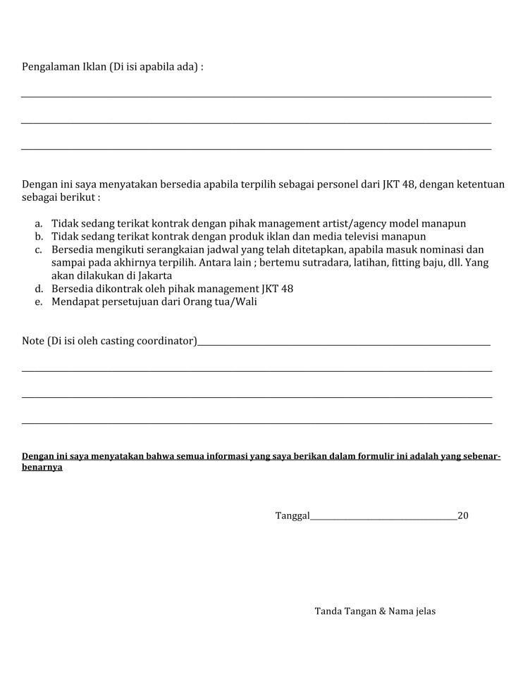 Jkt48 Theater On Twitter Retweet Ini Adalah Contoh Form Casting