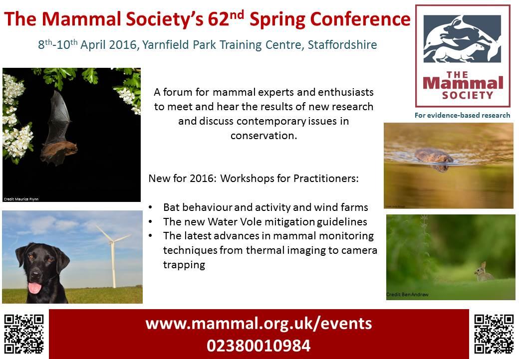 British Mammal Society conference, 8-10 April