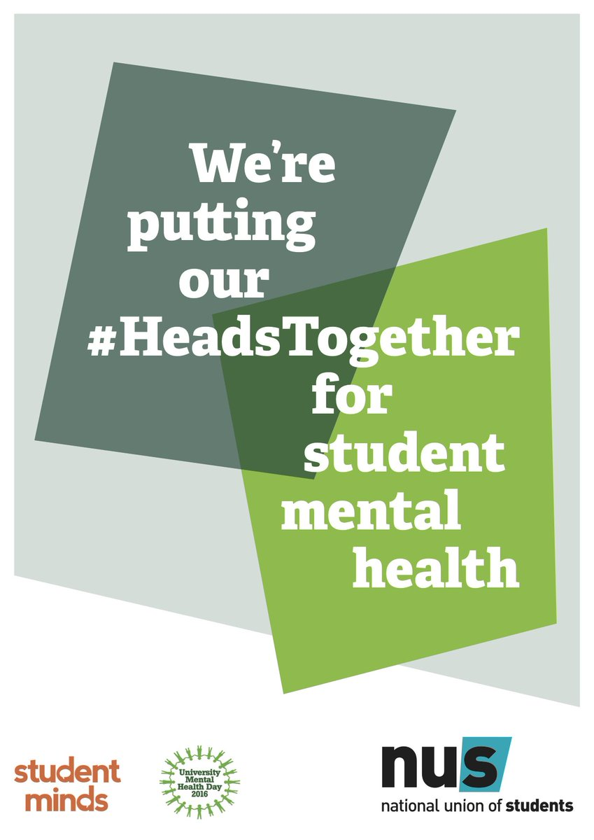 TOMORROW is #UniMentalHealthDay! @NUSuk & @Studentmindsorg are putting our #HeadsTogether to campaign. #StudentChats https://t.co/4frdnqiqF1