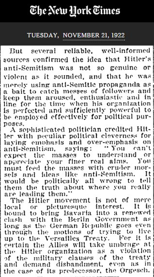 Out of curiosity, I found the first NYT reference to Adolf Hitler. Nov. 21, 1922. Amazing last three paragraphs. https://t.co/VhBnlSsfNm