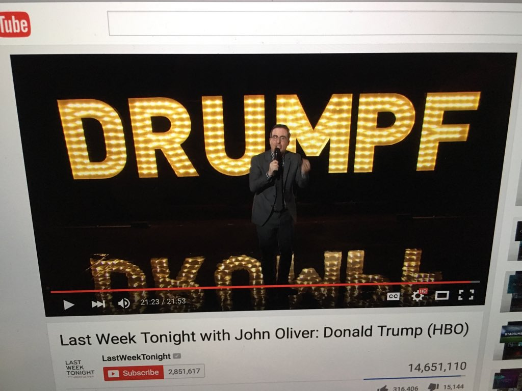 #Drumpf ~Its official... I ❤️ You #JohnOliver !!!!!!! @LastWeekTonight show is a must see! This episode for sure