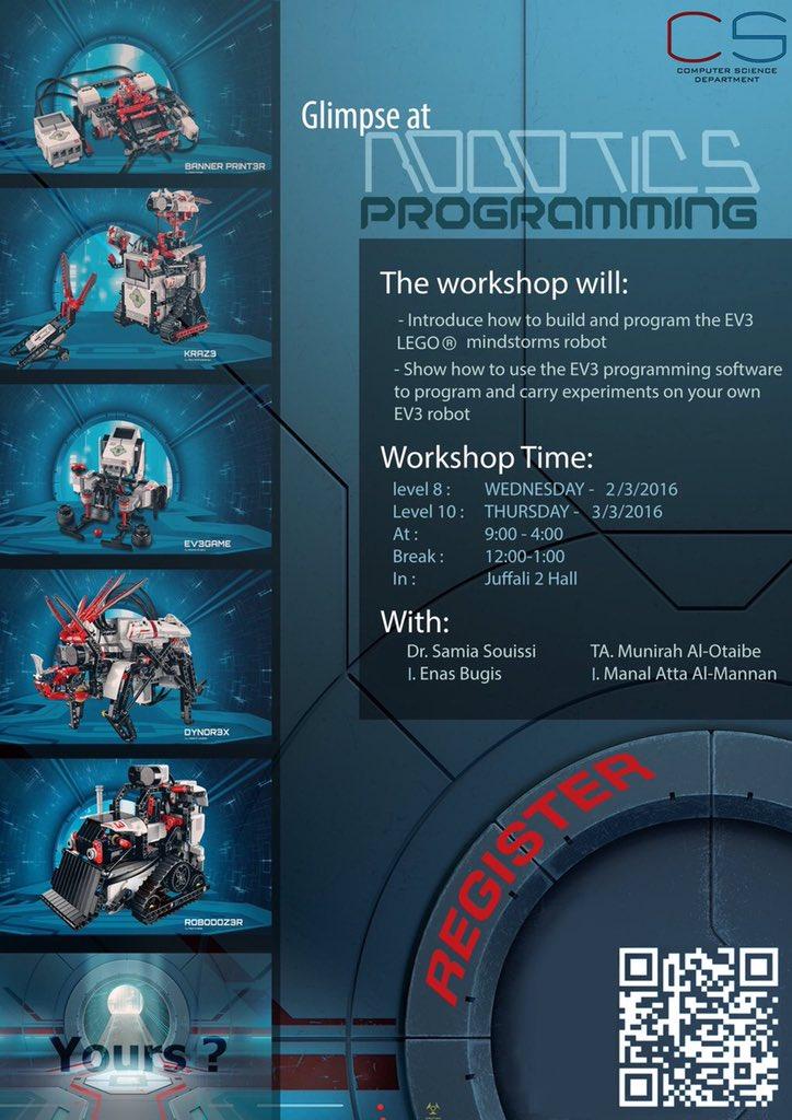 موعدنا اليوم الخميس باْذن الله دورة #برمجة_الروبوت لشطر الطالبات. #جامعة_ام_القرى #uqu_cs #robotics #روبوت