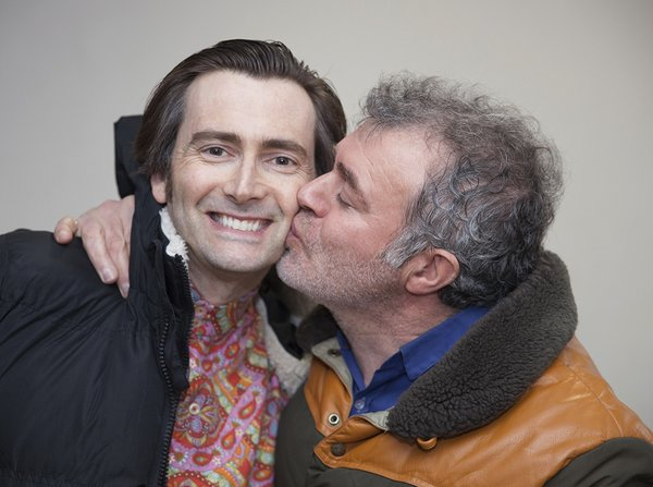 A fun photo of David Tennant with the director of photography on Mad To Be Normal