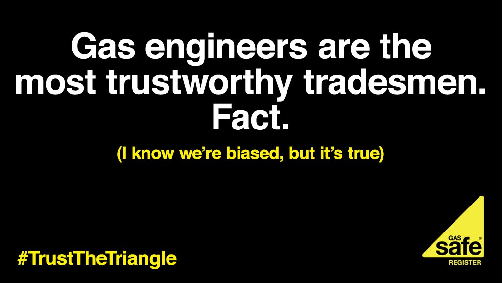 Gas engineers ranked most trusted tradesmen – but there are still rogues out there. Stay safe & #TrustTheTriangle https://t.co/geomrREVnJ