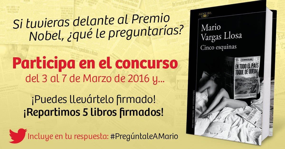 Concurso #PregúntaleAMario... ¡Atención fans de Mario #VargasLlosa! Podéis ganar su libro firmado! @megustaleer https://t.co/RrRmmySYhb