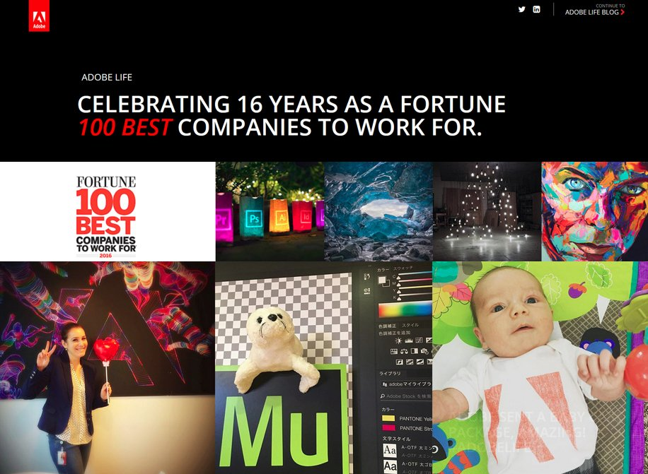 We did it again! Adobe's 16th year on @FortuneMagazine's #100BestCos to work for: https://t.co/aRcDuOkutv #AdobeLife https://t.co/189OV761nz