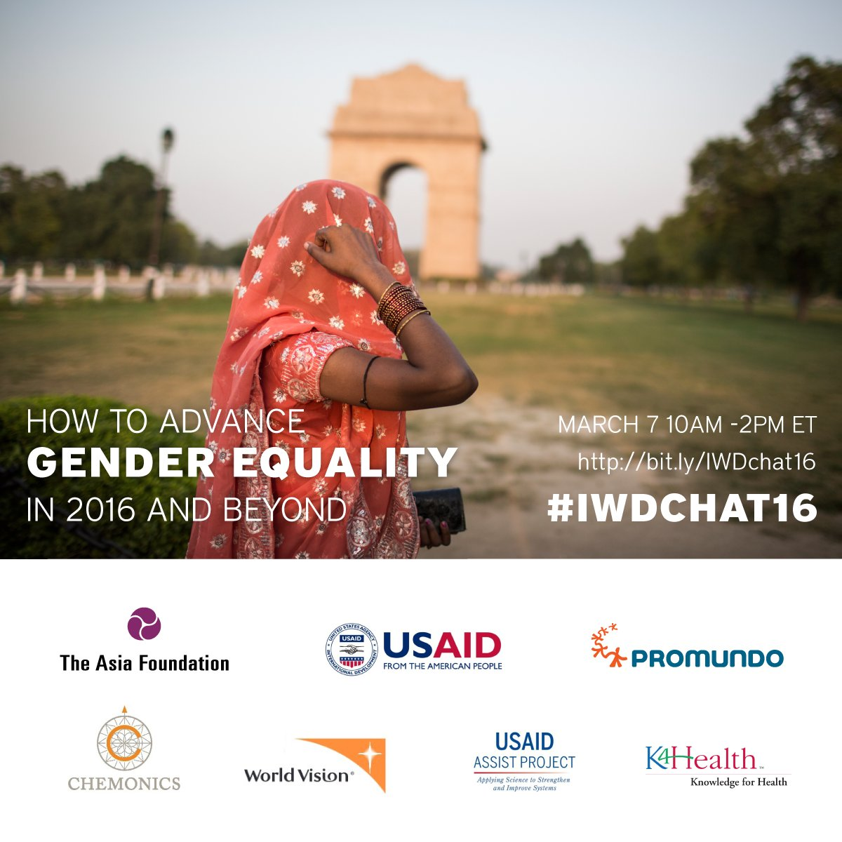 """Save the date for live March 7 #IWDchat16 on """"How to Advance Gender Equality in 2016 and Beyond"""" w/ 6 partners. https://t.co/Iszjxy9M3i"""