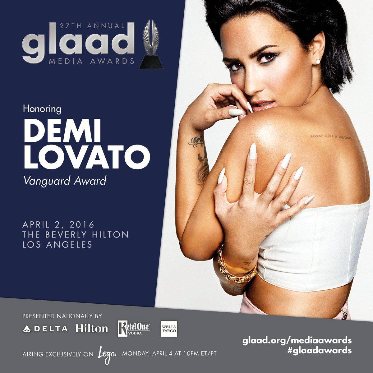We're thrilled that @ddlovato will be honored at the #glaadawards in LA on April 2! https://t.co/jDJiYrMmRB https://t.co/gSKEMX4ey4