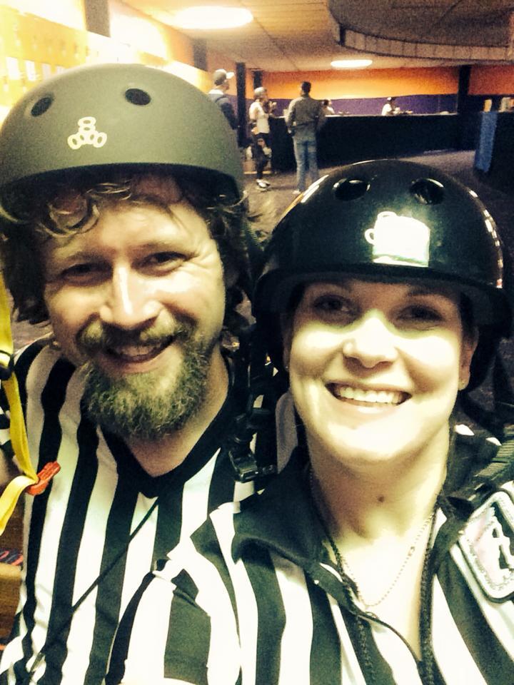 #TBT Hubby's first bout! #rollerderby #couplesbout #derbywidowernomore  #teamzebra #karavorkian #kurtgobang